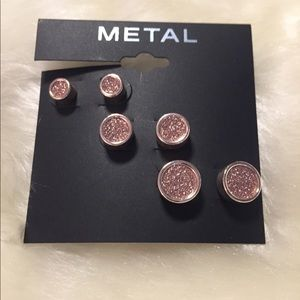 Jewelry - Metal Brand Gold & Pink Stud Earring 3 set